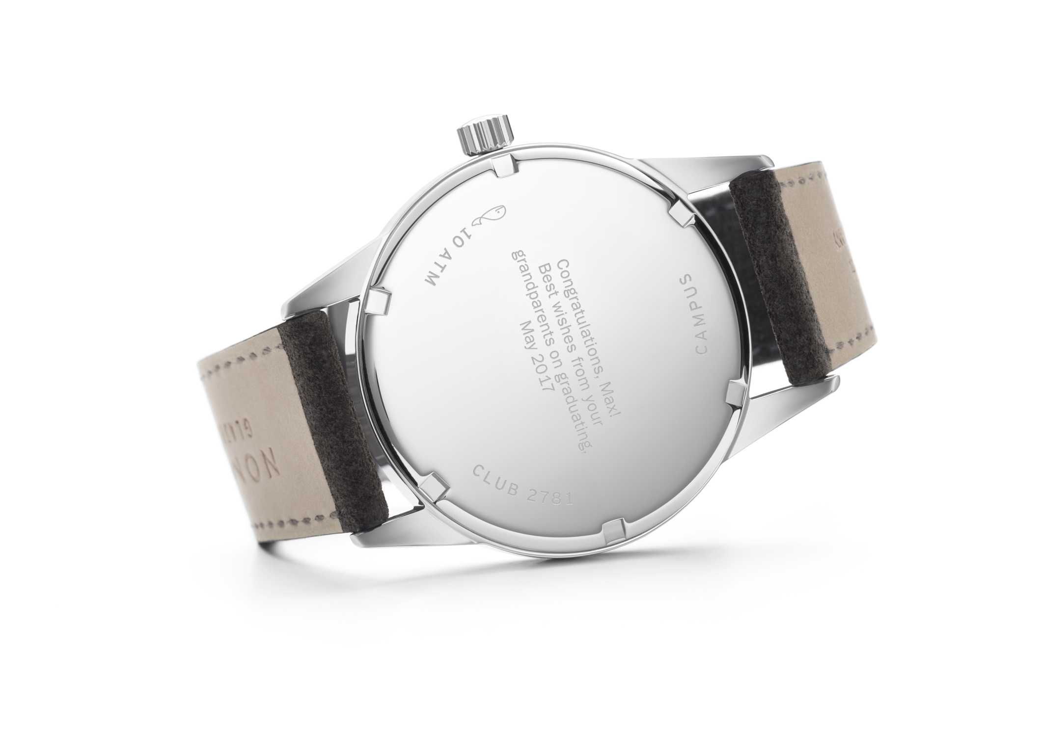 Nomos Club 38 Campus Nacht - the Campus series come with a complimentary engraving at no extra cost - a small personalized message on the back
