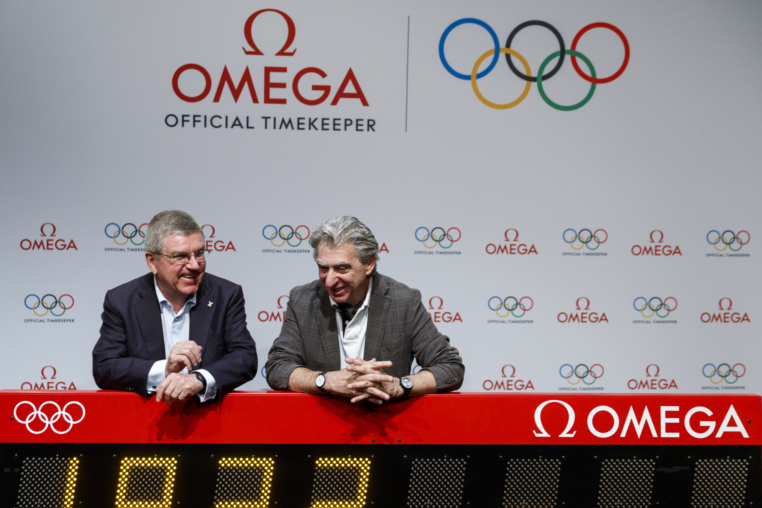 IOC President Thomas Bach and Nick Hayek, CEO of Swatch Group
