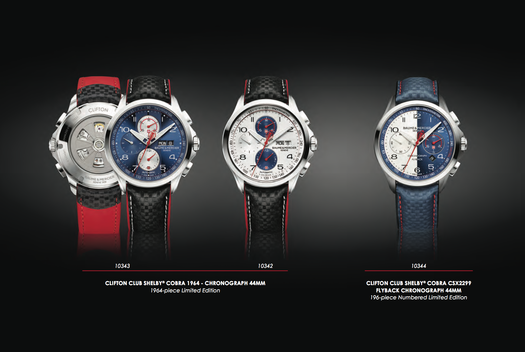 Baume & Mercier Clifton Club Shelby Cobra - the three limited editions at a glance