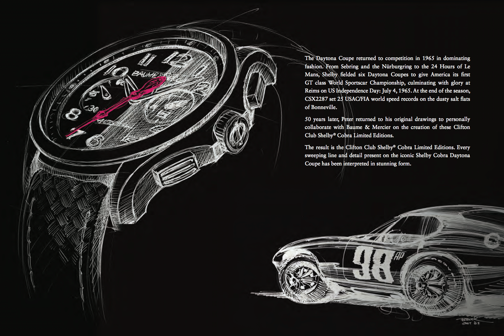 50 years after the creation of the iconic race car, Peter Brock has drawn inspiration from his original drawings and collaborated with Baume & Mercier to create the Clifton Club Shelby® Cobra limited editions.