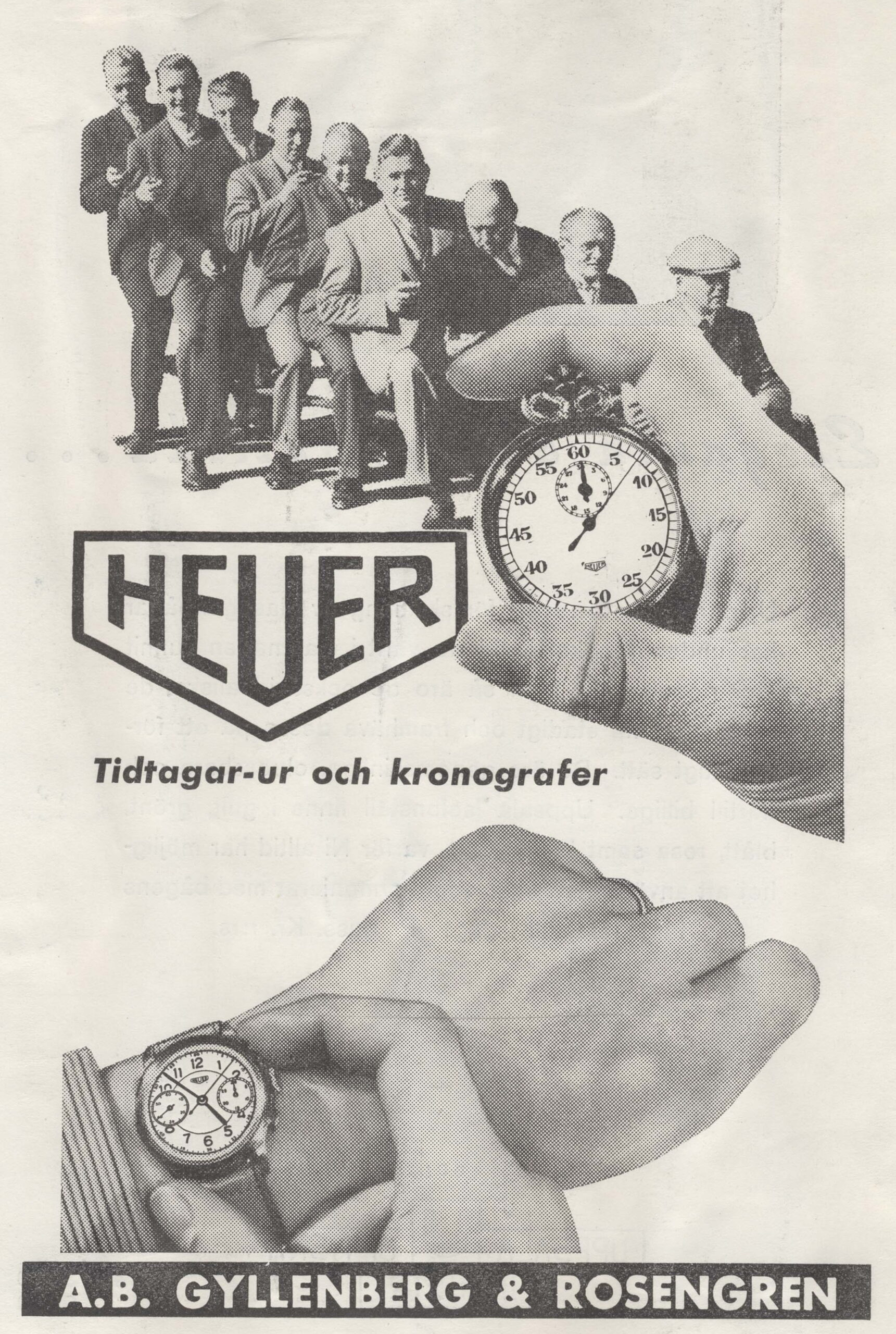 Heuer advert for chronographs from 1941