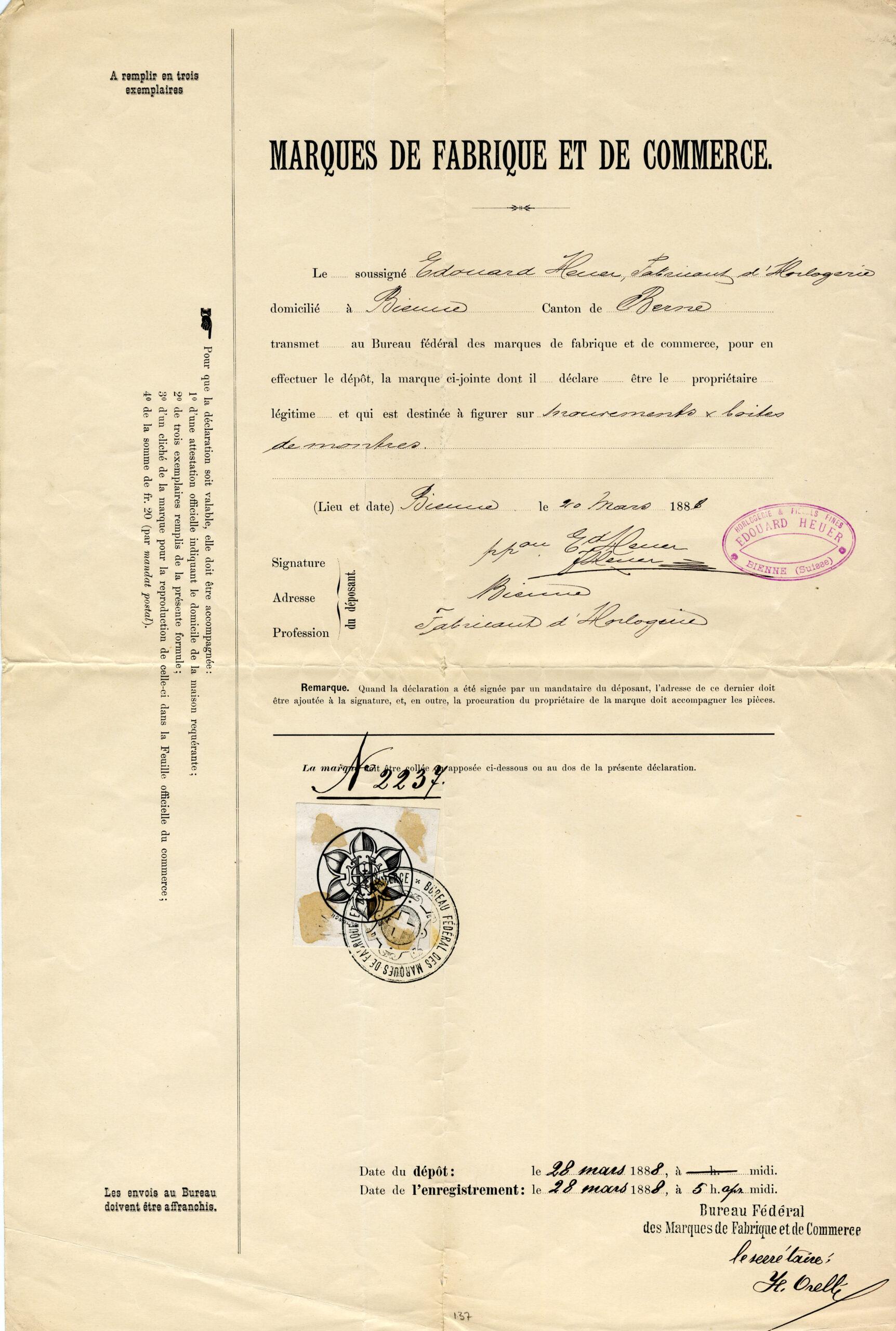 The Charles-Edouard Heuer blossom trademark