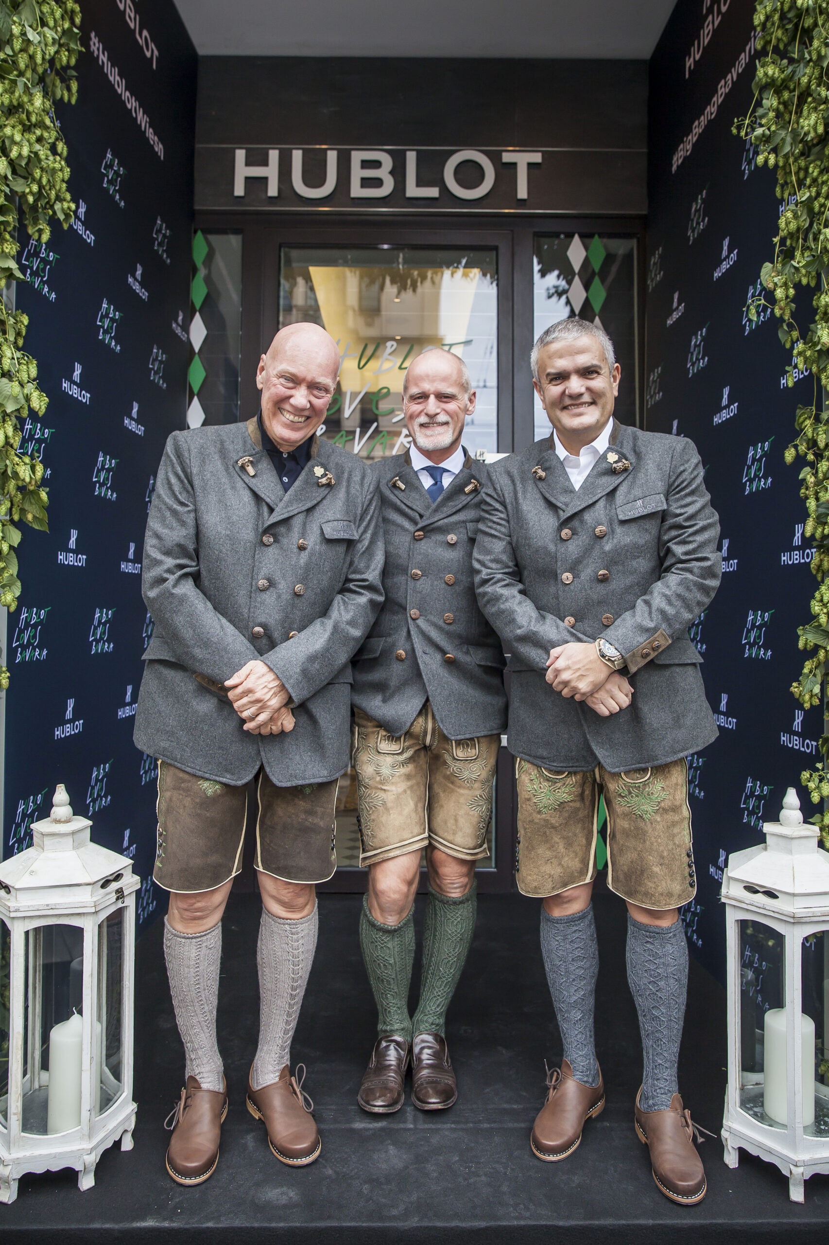 Jean-Claude Biver, Markus Meindl and Ricardo Guadaloupe wearing a traditional jacket and Lederhosen