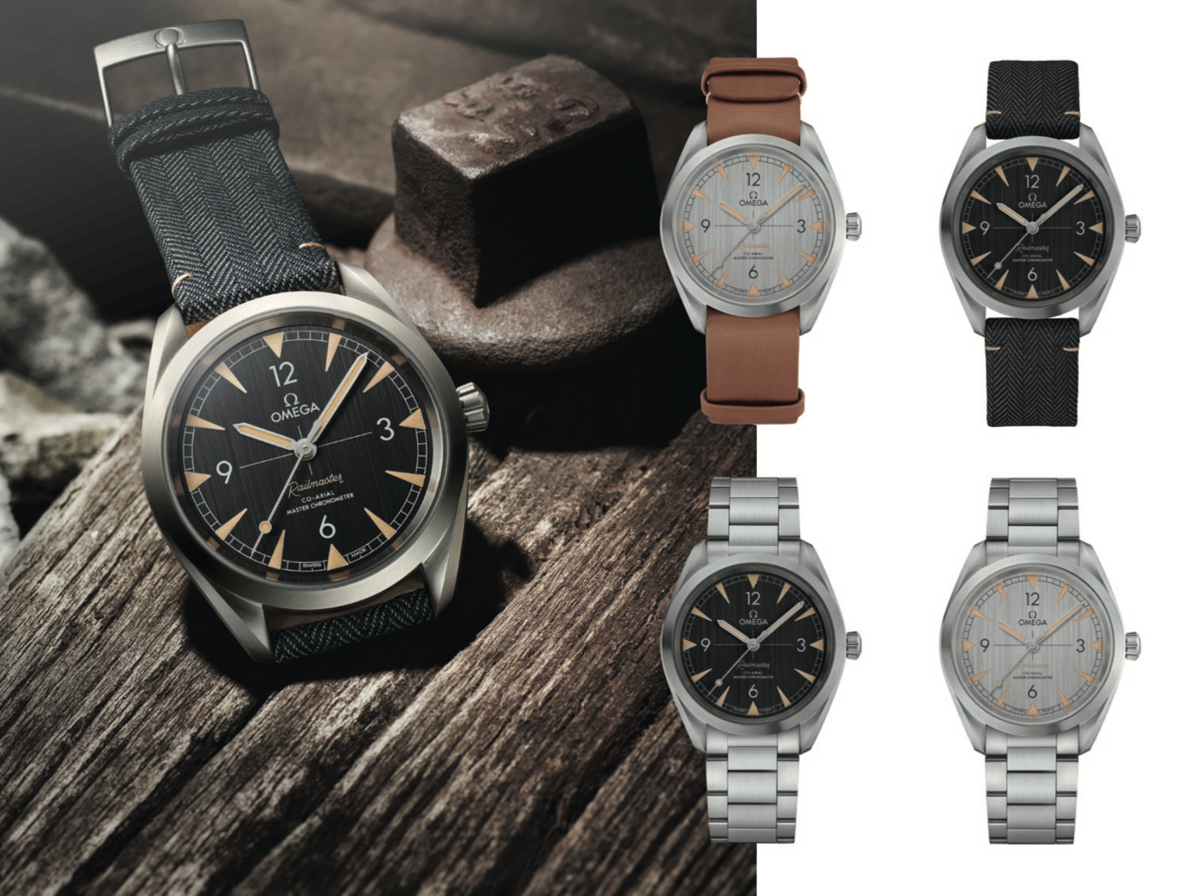 The four available Omega 'Railmaster' Co-Axial Master Chronometer