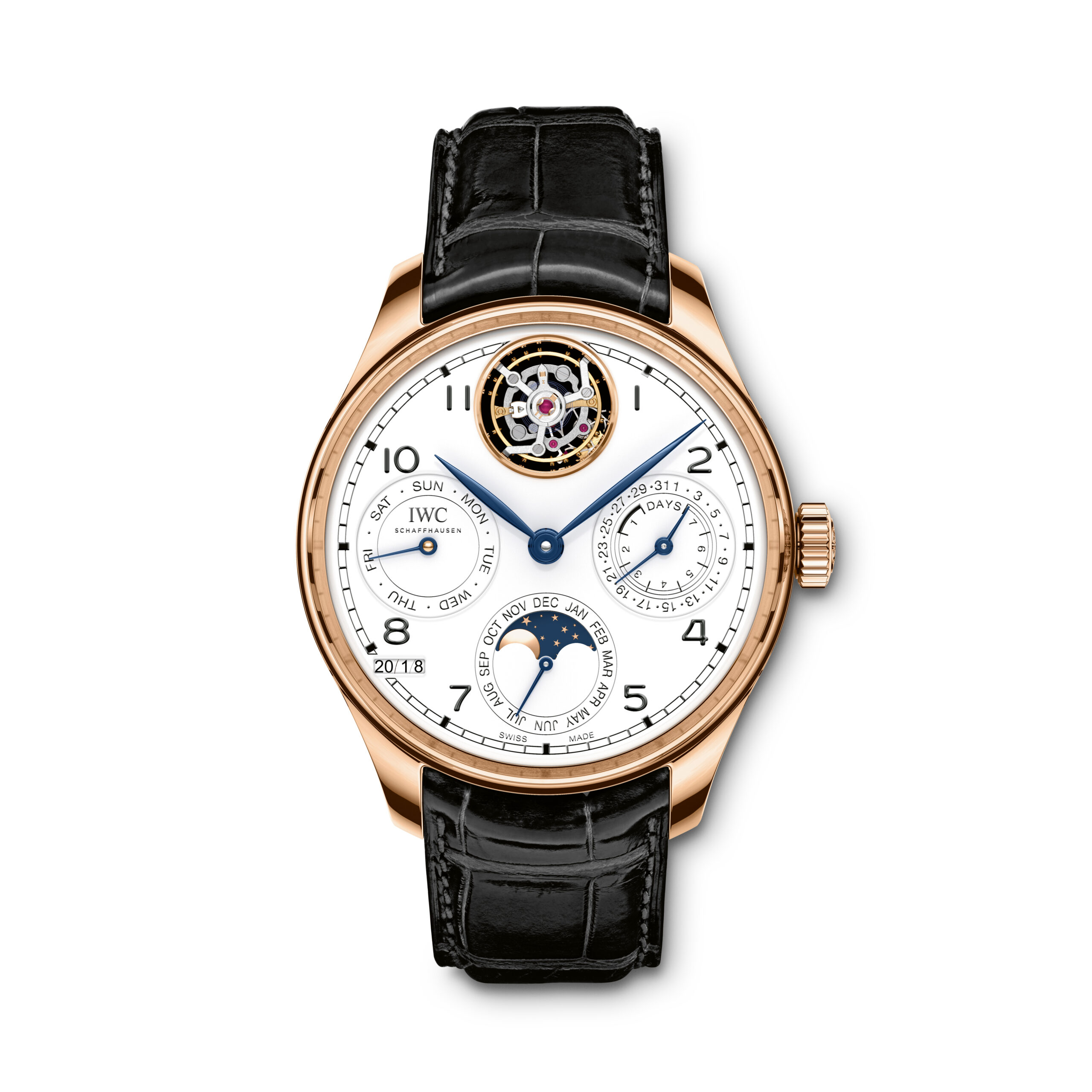 "IWC Portugieser Perpetual Calendar Tourbillon Edition ""150 Years"" This is an extension of the 51900 calibre, with the addition of a perpetual calendar. Made of 82 individual components and weighing just 0.635 grams, the tourbillon is visible at ""12 o'clock"" because the watch designers opened up the calendar advance ring and integrated the moon phase in the month display disc at ""6 o'clock"""