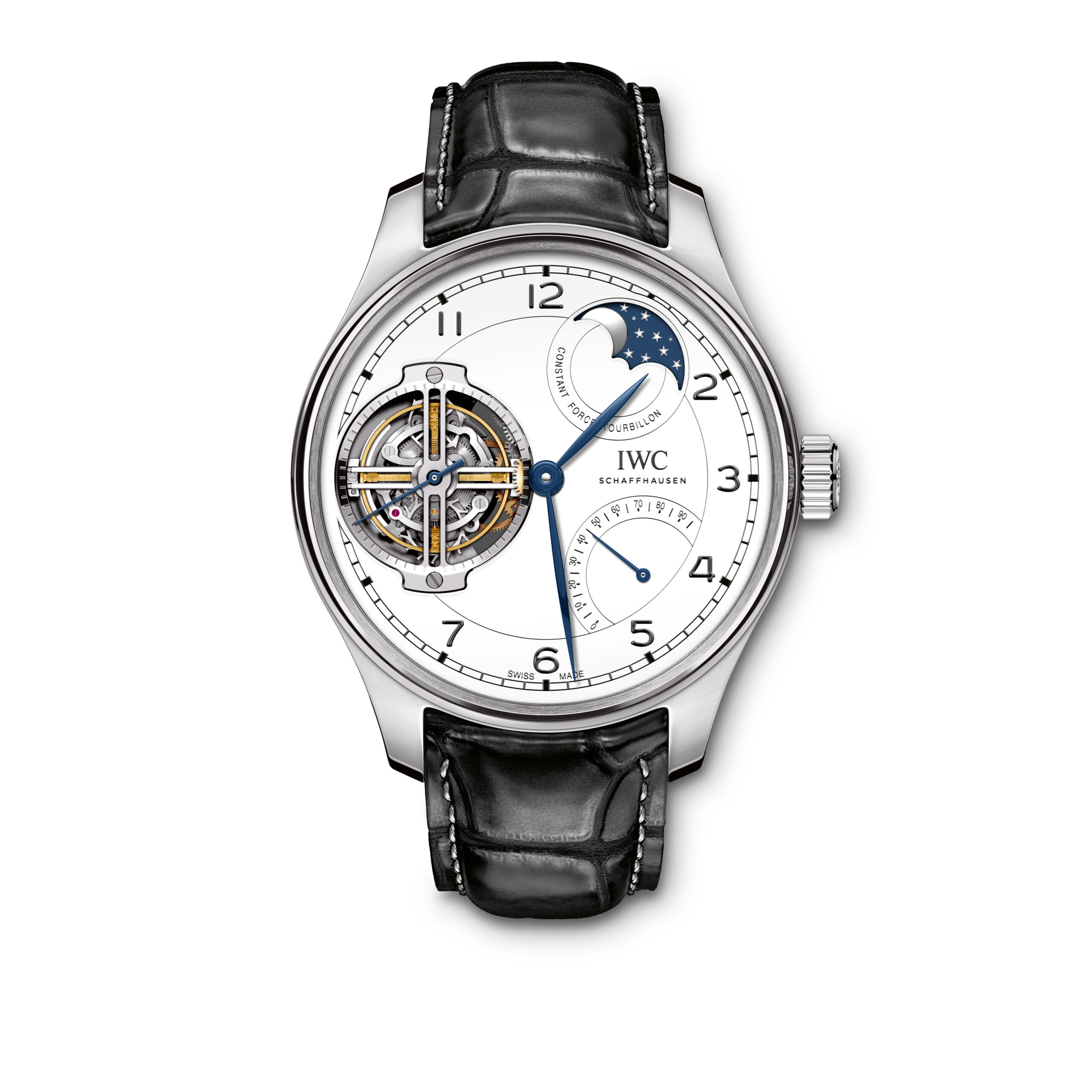 "IWC Portugieser Constant-Force Tourbillon Edition ""150 Years"" (Ref. 5902) Platinum, white dial with lacquered  nish, blued hands"