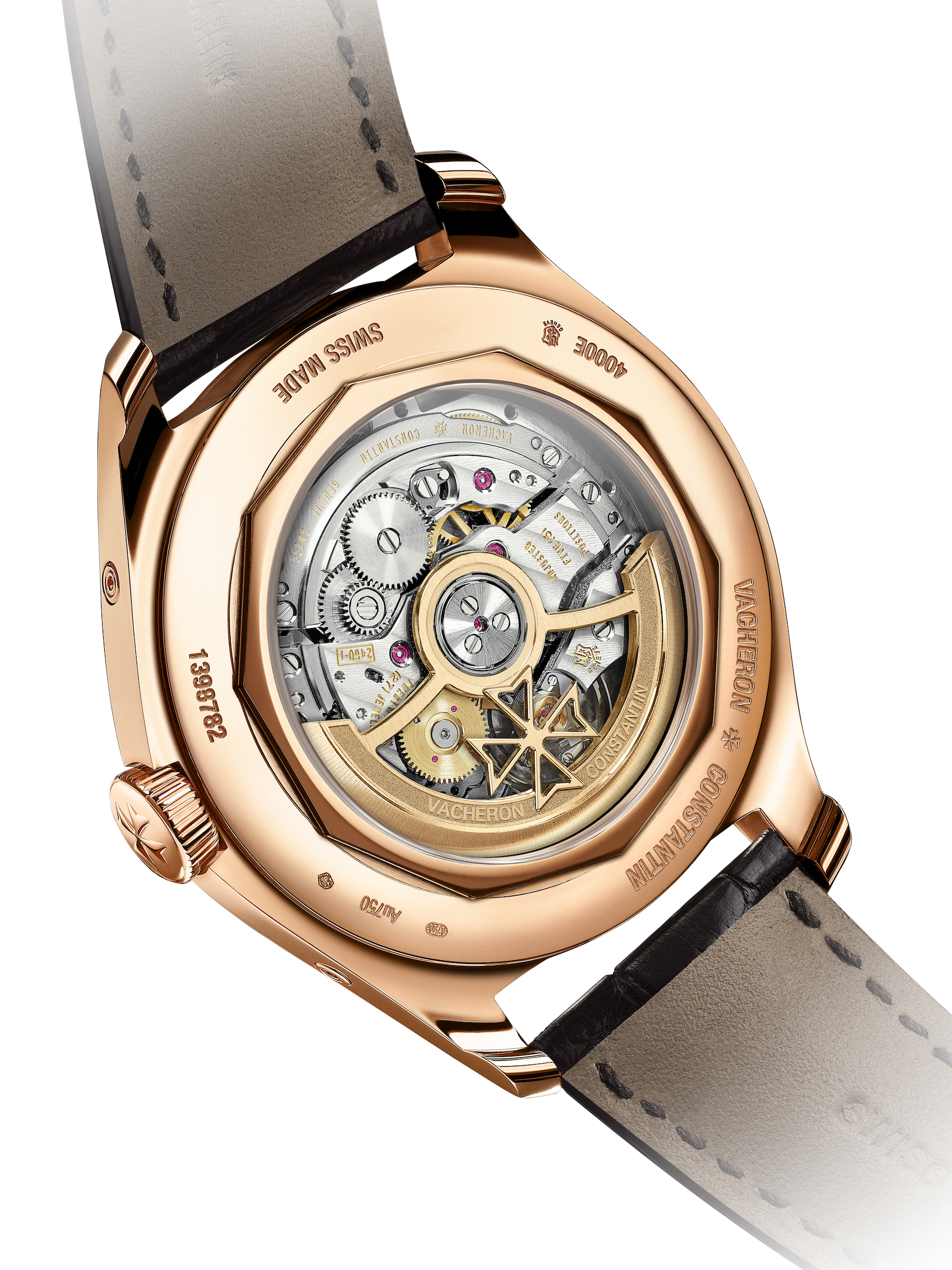 Vacheron Constantin FIFTYSIX complete calendar with precision moon phase. A 40 mm-diameter case in steel or 18 carats 5N pink gold; gold Arabic numerals, hour- markers and hours & minutes hands; alligator leather strap with steel folding clasp or pink gold pin buckle depending on the model.