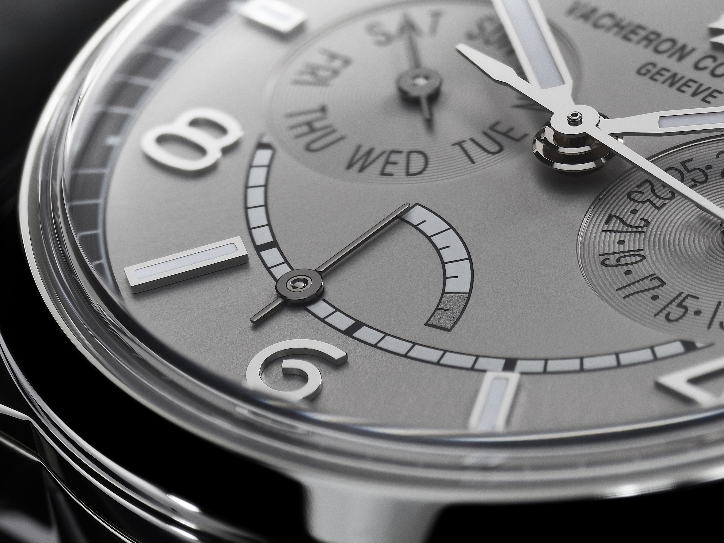 Vacheron Constantin FIFTYSIX day-date with power-reserve indicator. Power-reserve display at 6 o'clock