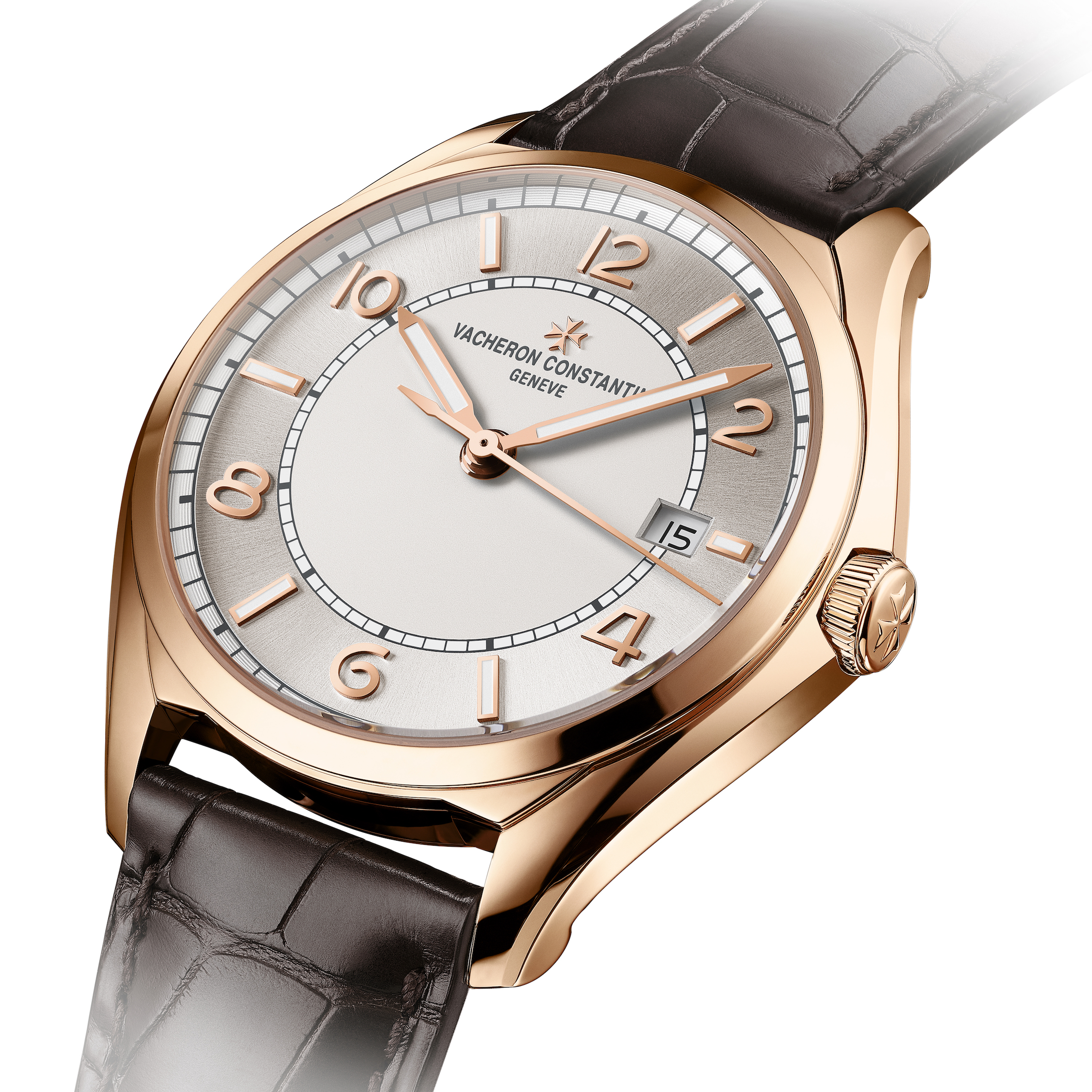 Vacheron Constantin FIFTYSIX self-winding. Alternating gold Arabic numerals and hour-markers enliven the monochrome dial with its double opaline-sunburst effect: grey on the steel version and silver-toned on the pink gold version. The baton-type gold hours and minutes hands, as well as the hour-markers, are coated with a luminescent material.