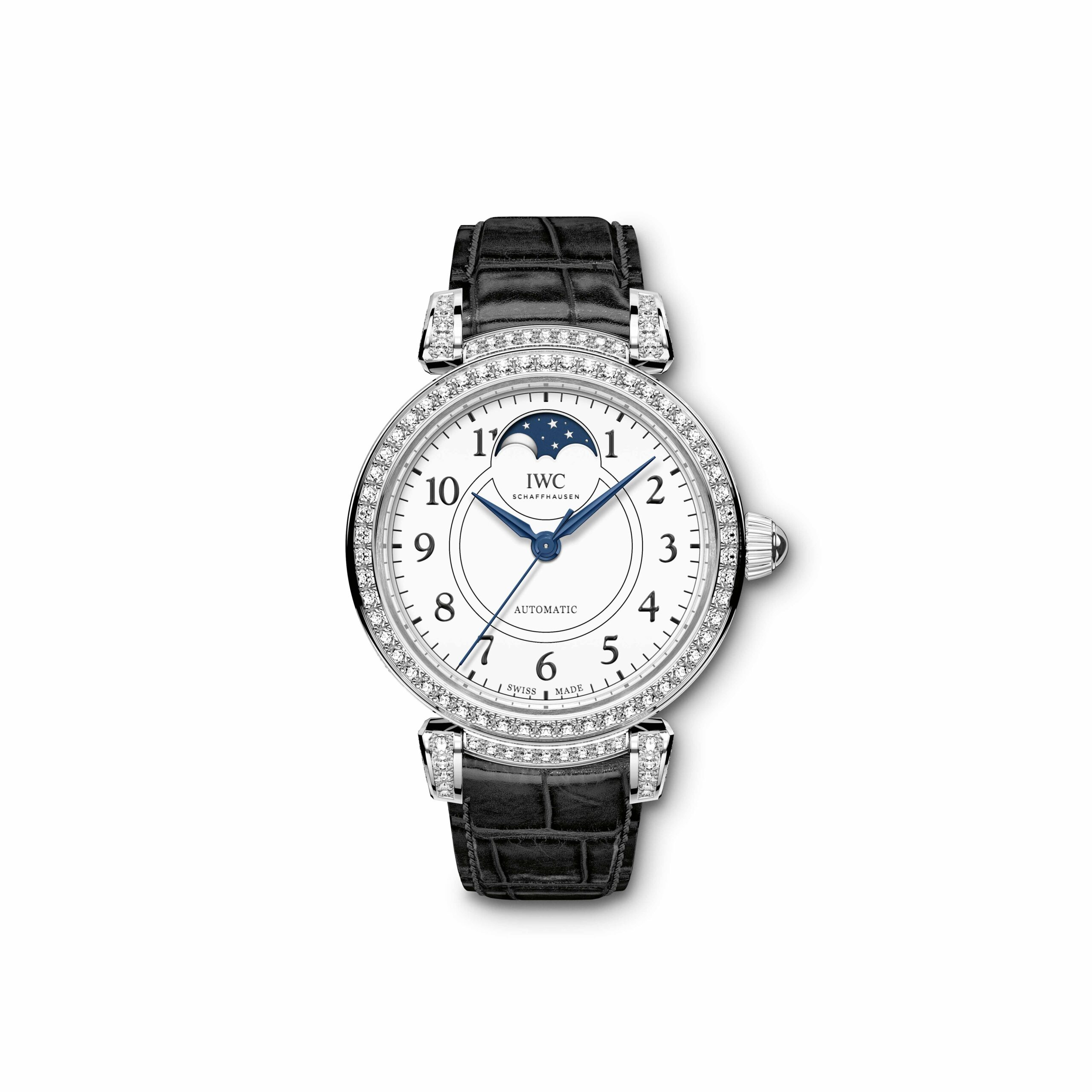 "IWC Da Vinci Automatic Moon Phase 36 Edition ""150 Years"" (Ref. 4593) The watches' case and moving lugs are paved with 206 pure white diamonds amounting to 2.26 carats."