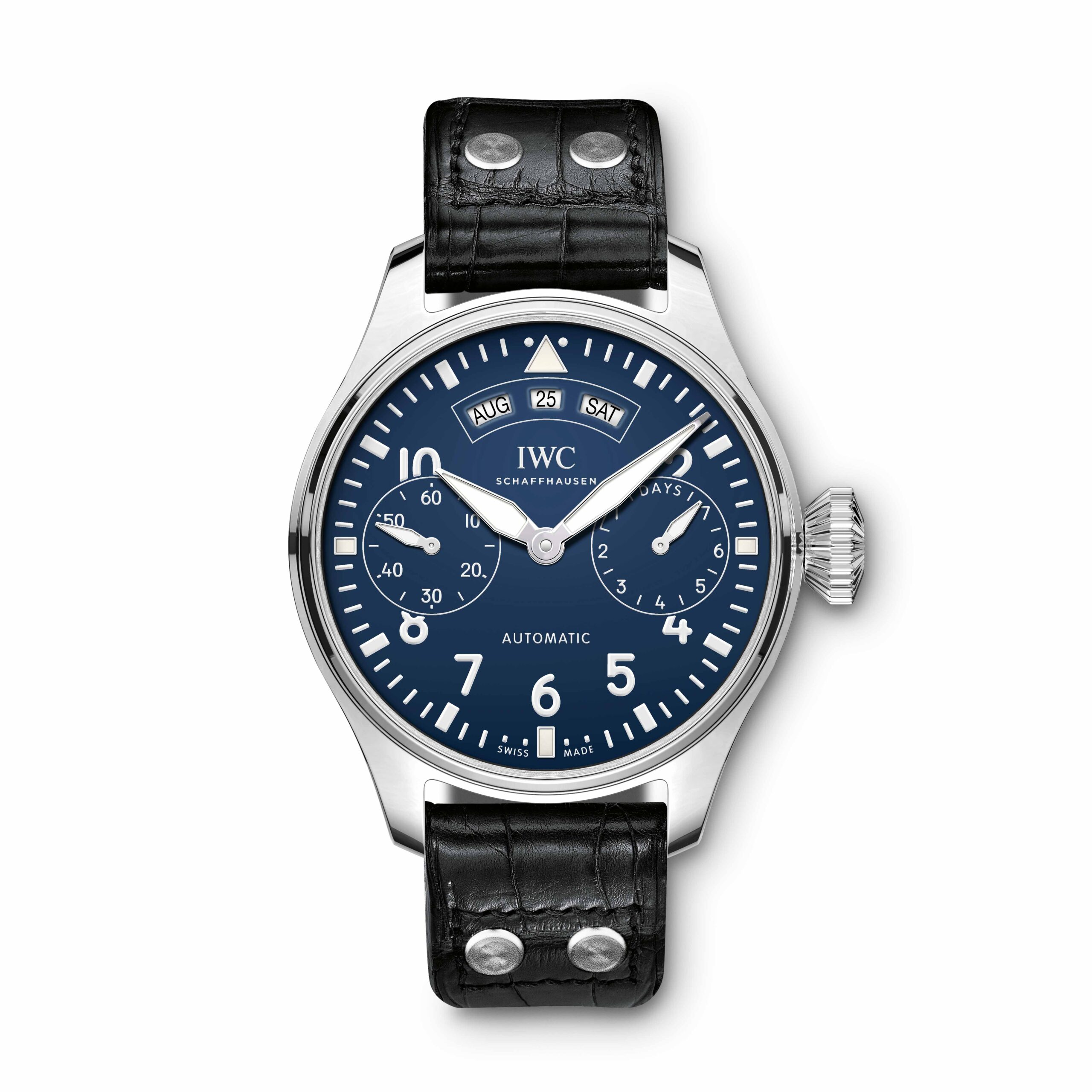 "IWC Big Pilot's Watch Annual Calendar Edition ""150 Years"" (Ref. IW502708) The annual calendar has an American-format display for the month, date and day in three separate windows on the dial and requires adjustment only once a year at the end of February."