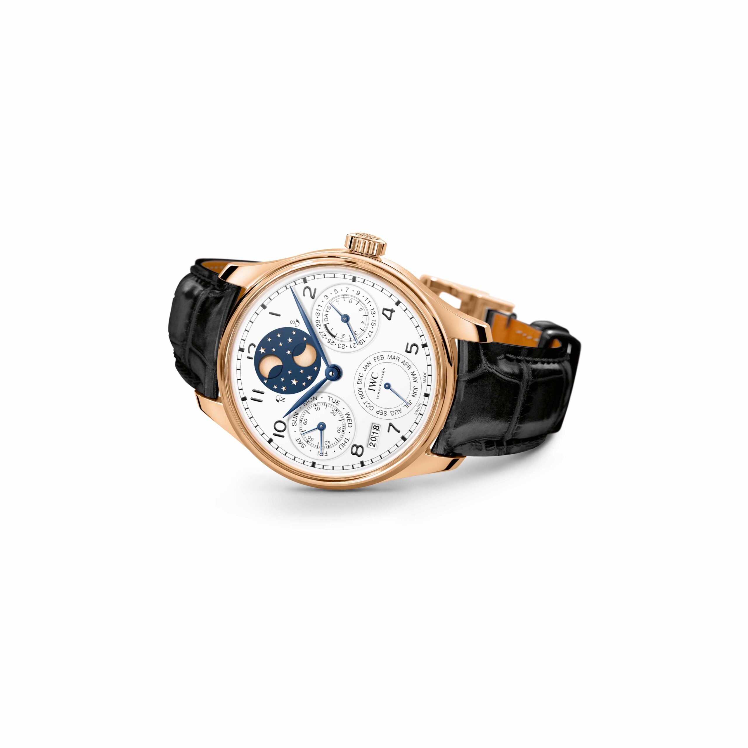 "IWC Portugieser Perpetual Calendar Edition ""150 Years"" (Ref. IW503405) 18-carat red gold, white dial with lacquered  nish, blued hands"