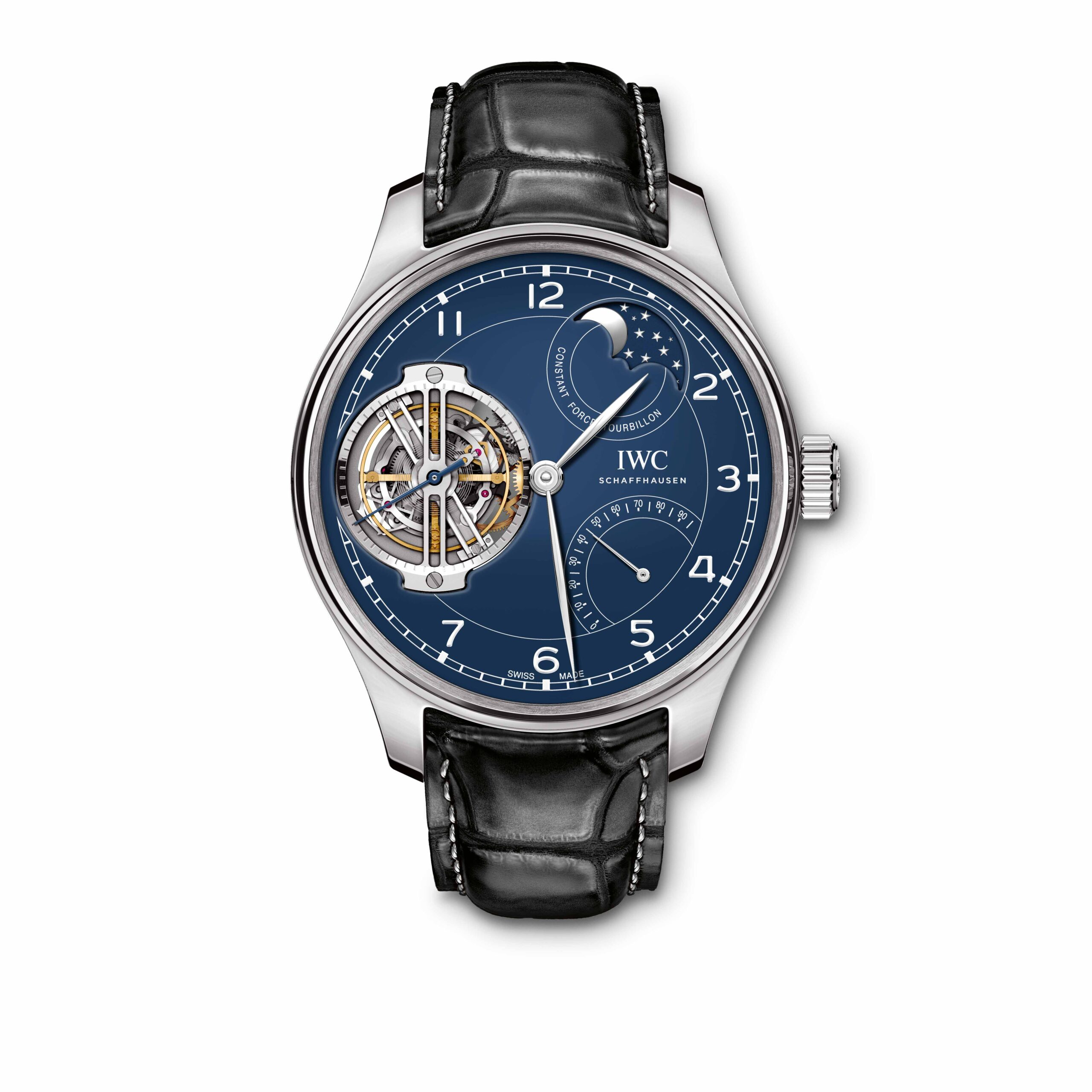 "IWC Portugieser Constant-Force Tourbillon Edition ""150 Years"" (Ref. 5902) Platinum, blue dial with lacquered  nish, rhodium-plated hands"