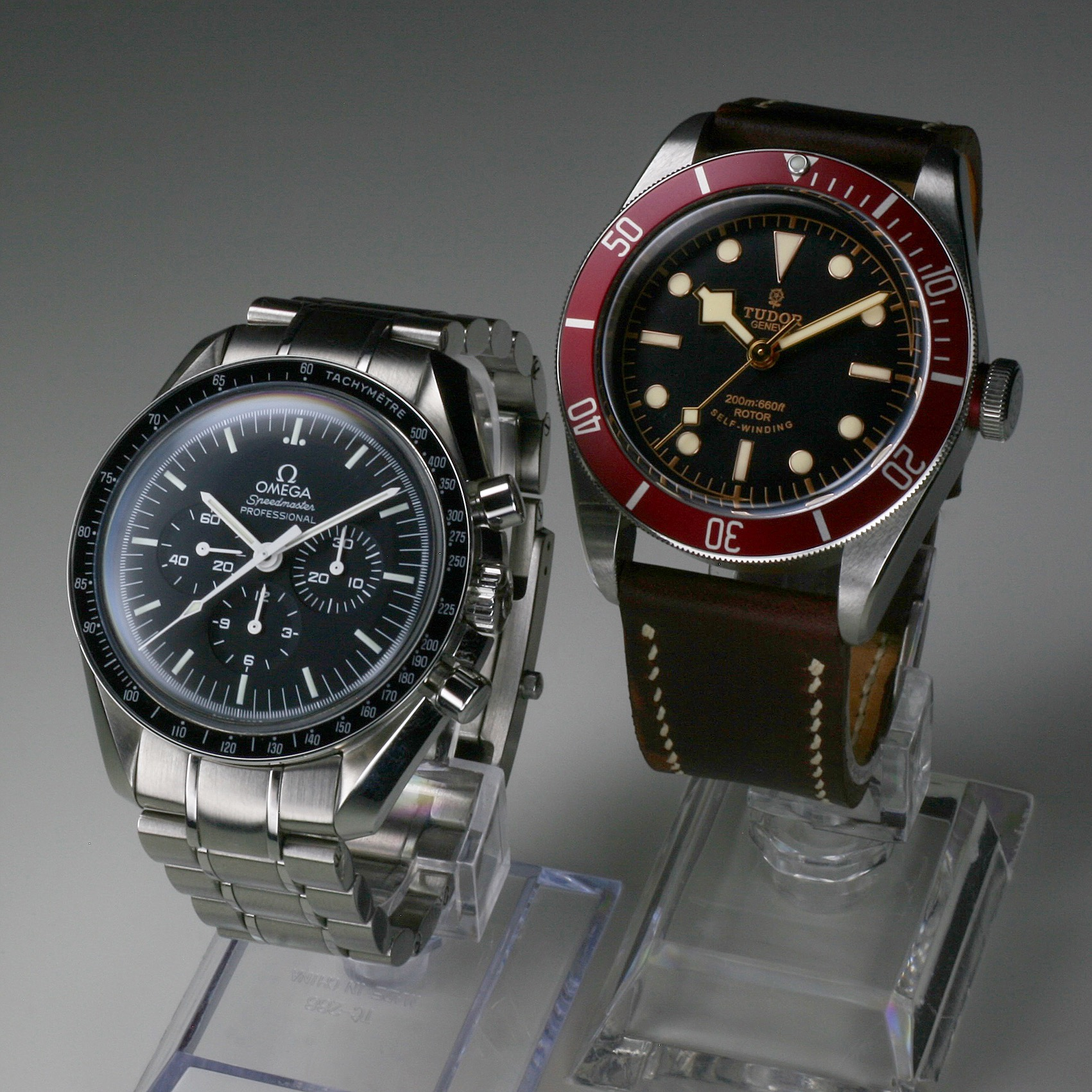 Omega Speedmaster Professional and Tudor Black Bay Red